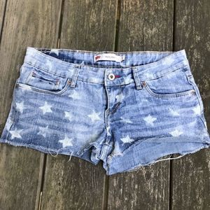Levi's Light Wash Star Jean Denim Shorty Shorts